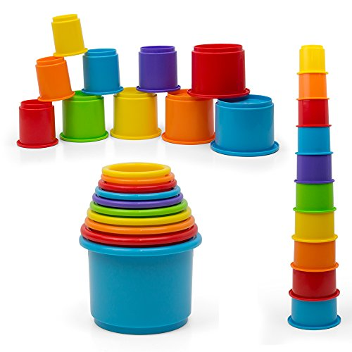 Rainbow Stacking Amp Nesting Cups Baby Building Set 10