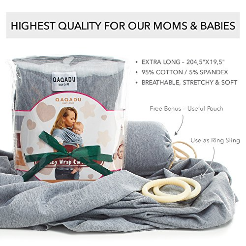 Qaqadu Baby Wrap Carrier Ring Sling For Newborn And