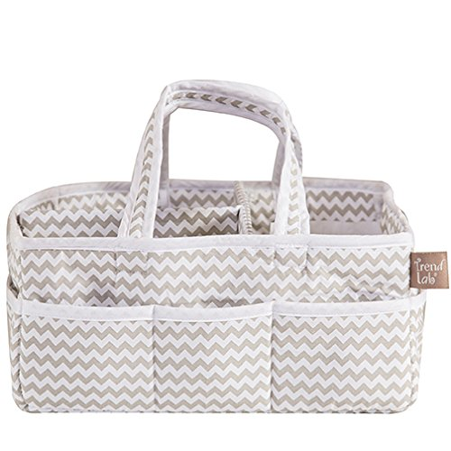 Dove Gray Chevron Baby Storage Nursery Caddy Diaper