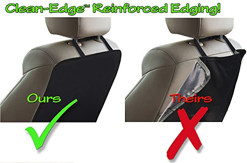 1 Mat TIKE SMART Luxury Clean-Edge Kick Mat Seat Back Protector and Seat Cover with Invisible Strap and Stiff Edging Gray//Grey
