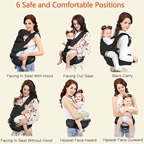 Suit for Infant Kids Toddler Back Support 6-in-1 Ways to Carry Windsleeping Toddler Baby Carrier with Hood for All Seasons Hip Seat Carrier Front and Back Newborn Orange